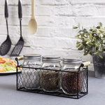 Rustic Chicken Wire Condiment/Utensil Caddy with Mason Jars