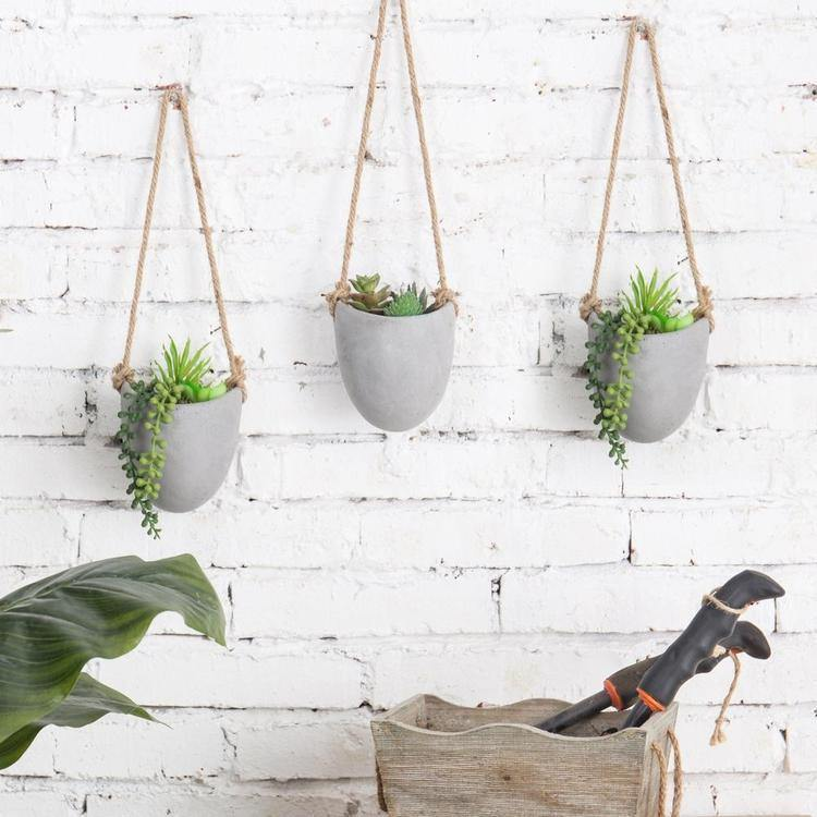 Rustic Clay Wall-Hanging Mini Planters, Set of 3 - MyGift