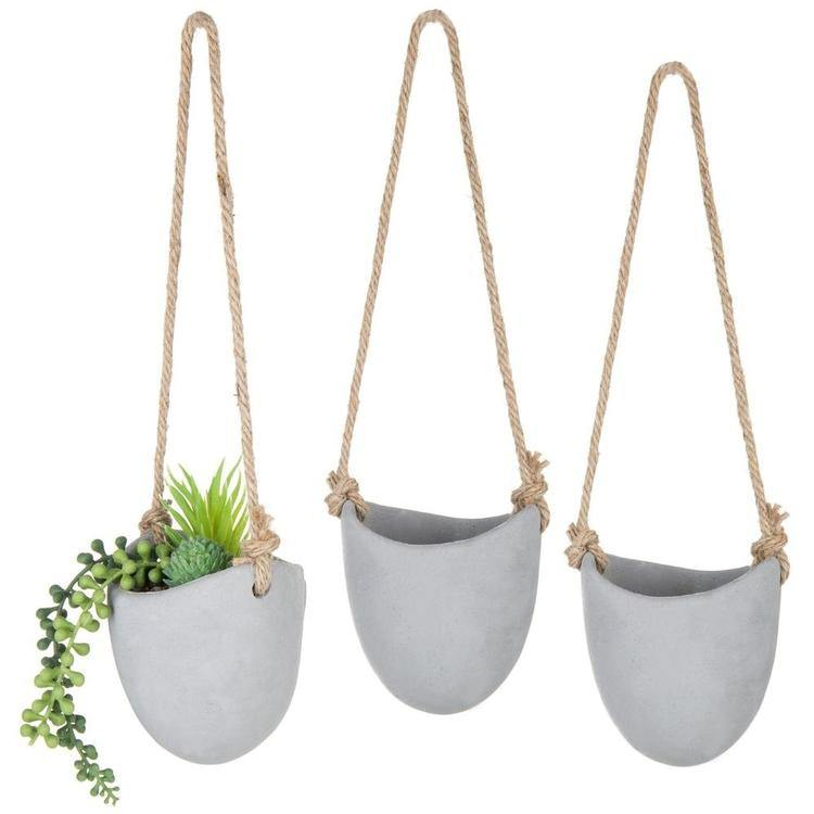 Rustic Clay Wall-Hanging Mini Planters, Set of 3