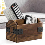 Rustic Dark Brown Burnt Solid Wood Remote Control Holder w/ Black Metal Accents