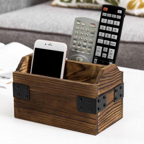 Rustic Dark Brown Burnt Solid Wood Remote Control Holder w/ Metal Accents