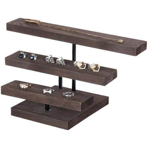 Rustic Dark Brown Wood Jewelry Riser Stand - MyGift