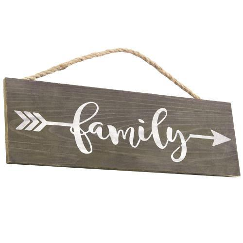 "Rustic Dark Brown Wood Sign ""Family"" with Hanging Rope - MyGift"