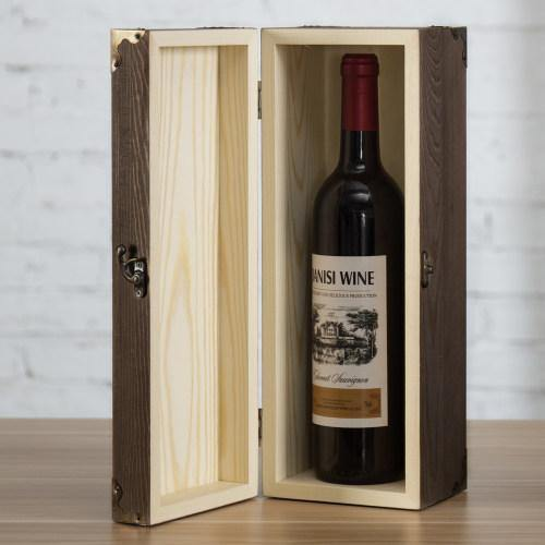 Rustic Dark Brown Wood Wine Gift Box with Chalkboard Label and Corner Brackets