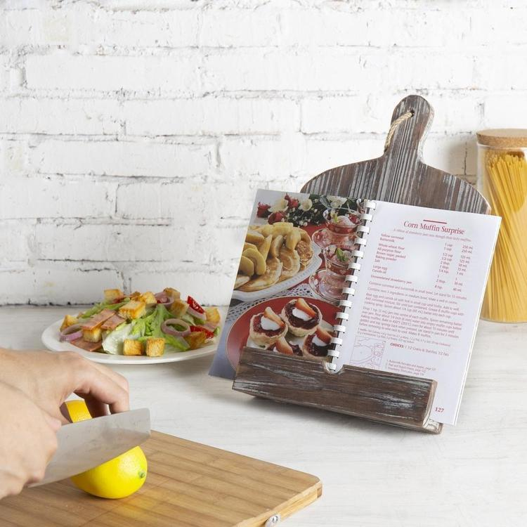Rustic Farmhouse Torched Wood Cookbook iPad Holder with Kickstand - MyGift Enterprise LLC