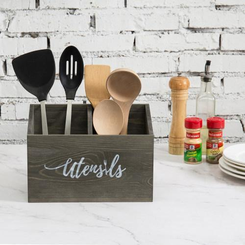 Rustic Gray Solid Wood Utensils Organizer