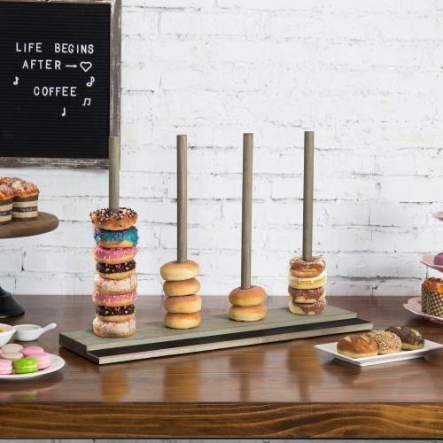 Rustic Gray Wood Donut Stand with Chalkboard Panel