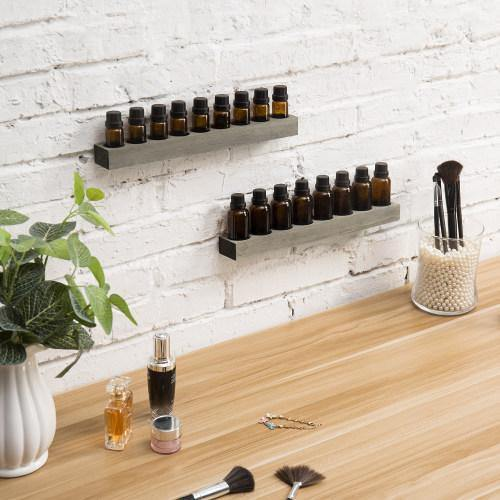 Rustic Gray Wood Essential Oil Racks, Set of 2, Wall Mountable/Tabletop - MyGift