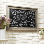 Rustic Wall Mounted Ash Gray Wood Framed Erasable Chalkboard Sign - MyGift Enterprise LLC