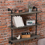 Rustic Gray Wood & Industrial Pipe Wall Mounted Shelving Unit