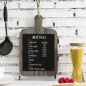 Rustic Gray Wood Wall Hanging Cutting Board Shaped Chalkboard