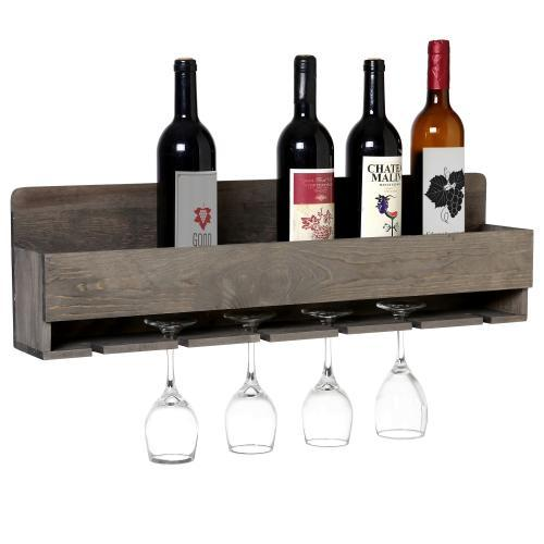 Barnwood Gray Wall Mounted Wine Bottle and 6 Stem Glasses Display Rack - MyGift Enterprise LLC