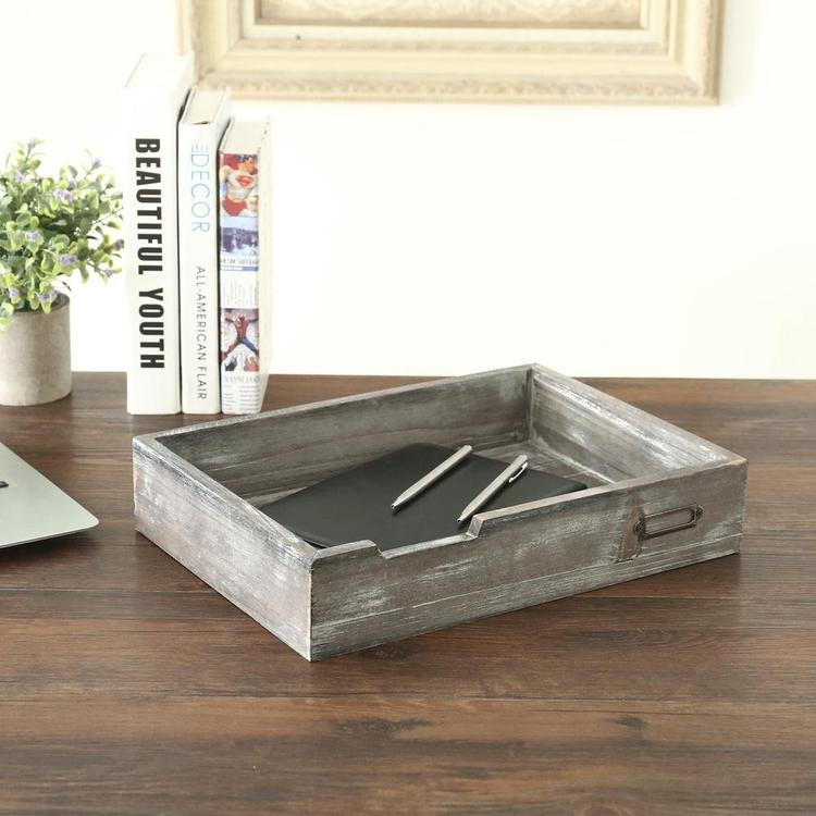 Rustic Gray Wooden Stackable Office Desktop Drawer-Style Document & Paper Storage Tray - MyGift Enterprise LLC