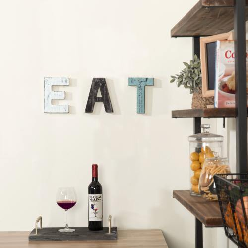 Rustic Multicolor Cutout Wooden EAT Letter Sign - MyGift