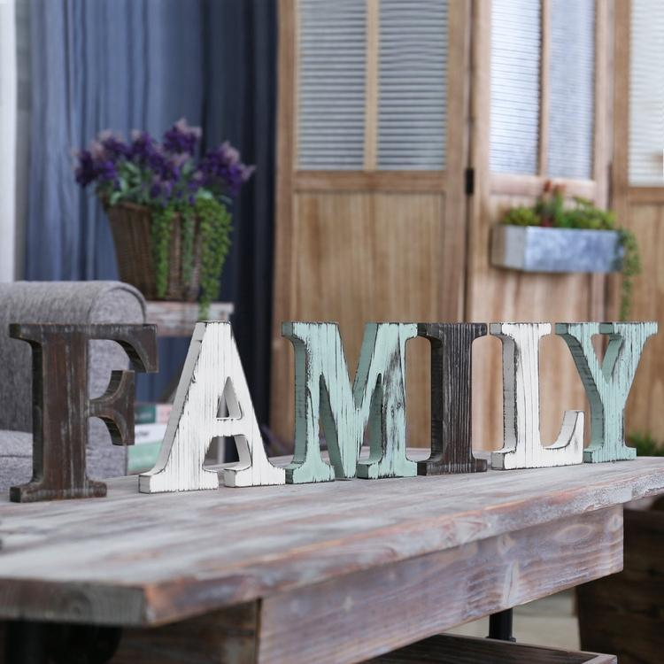 Rustic Multicolor Wood Tabletop FAMILY Letters Sign