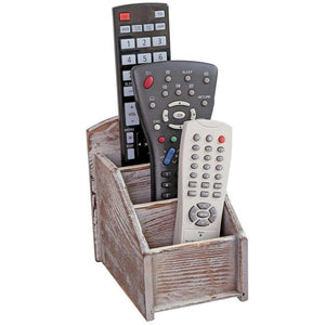 3 Slot Rustic Wood Remote Control Caddy / Office Supply Storage Rack, Brown - MyGift Enterprise LLC