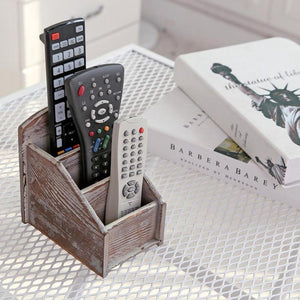 Rustic Remote Control Holder, Torched Finish