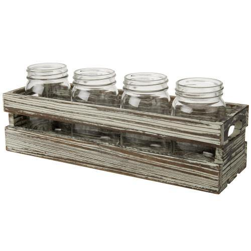 Rustic Torched Wood Crate Style Planter Box w/ 4 Glass Mason Jars - MyGift