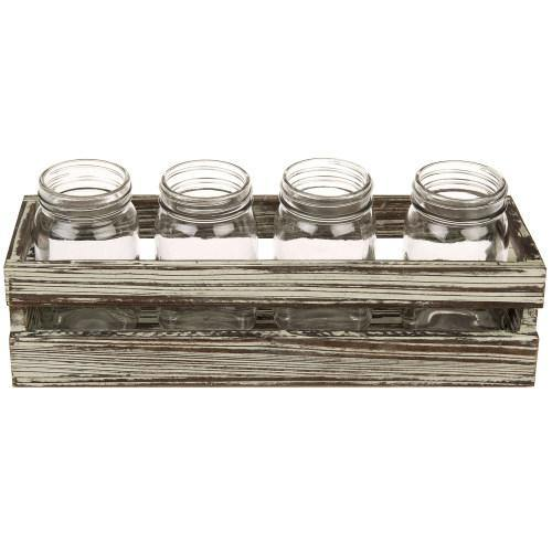 Rustic Torched Wood Crate Style Planter Box w/ 4 Glass Mason Jars
