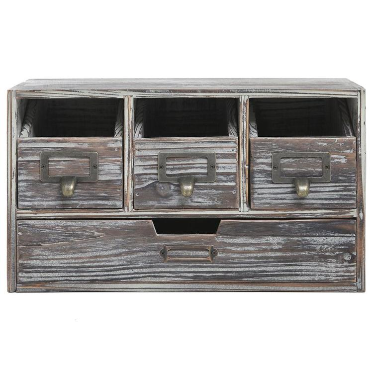 Rustic Brown Torched Wood Desktop Office Supply Storage Cabinet - MyGift Enterprise LLC