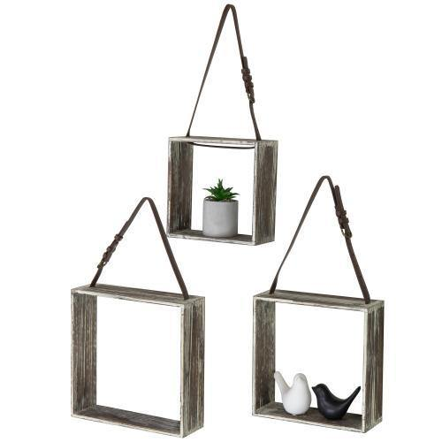 Rustic Torched Wood Display Shadow Boxes with Leatherette Hanging Straps, Set of 3