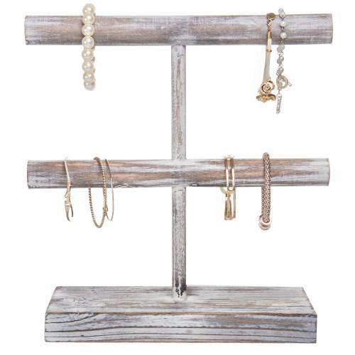 Rustic Torched Wood Jewelry Display Rack - MyGift