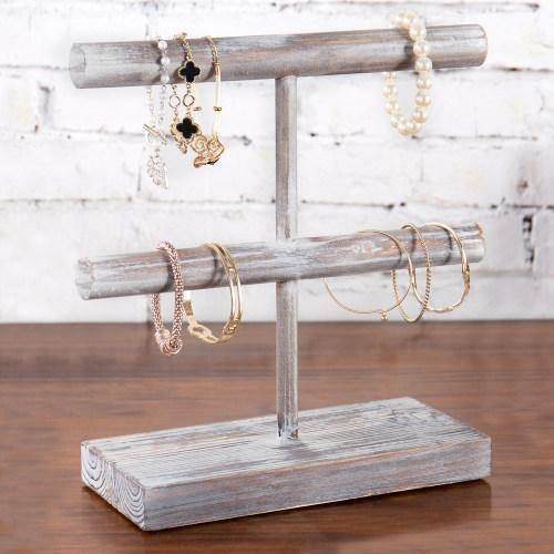 Rustic Torched Wood Jewelry Display Rack