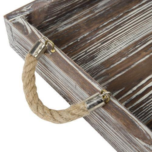 Rustic Torched Wood Nesting Trays With Twisted Rope Handles Set Of 2 Mygift