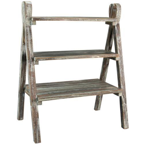 Rustic Torched Wood Plant Stand & Display Riser - MyGift