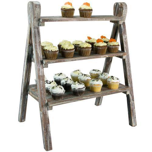 Rustic Torched Wood Plant Stand & Display Riser