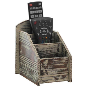 Rustic Torched Wood Remote Control Holder - MyGift