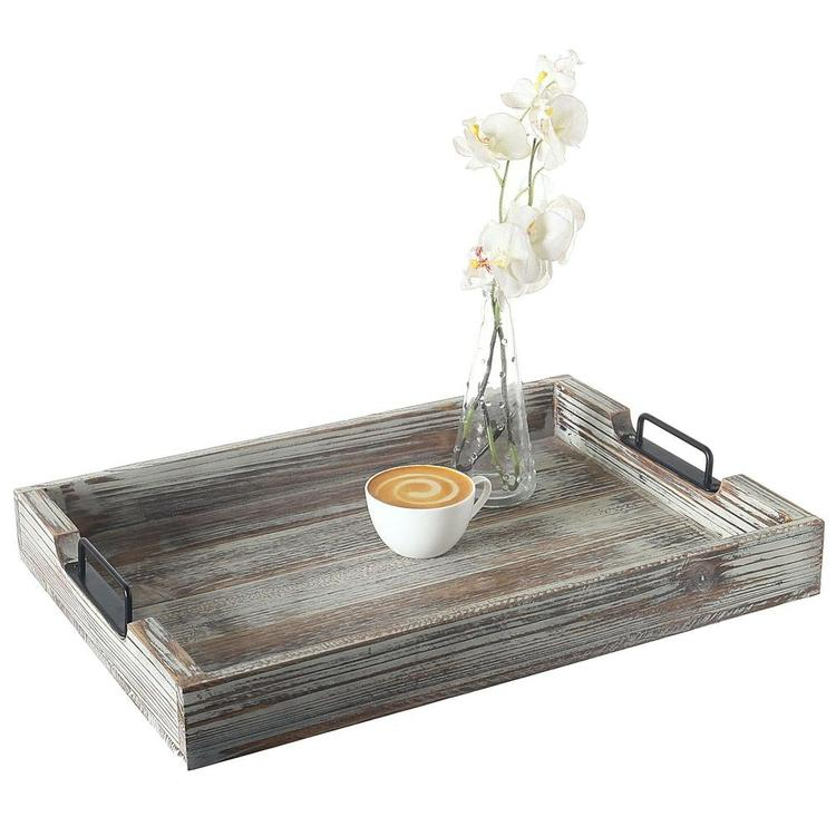 Distressed Torched Wood 20-Inch Serving Tray with Modern Black Metal Handles - MyGift Enterprise LLC