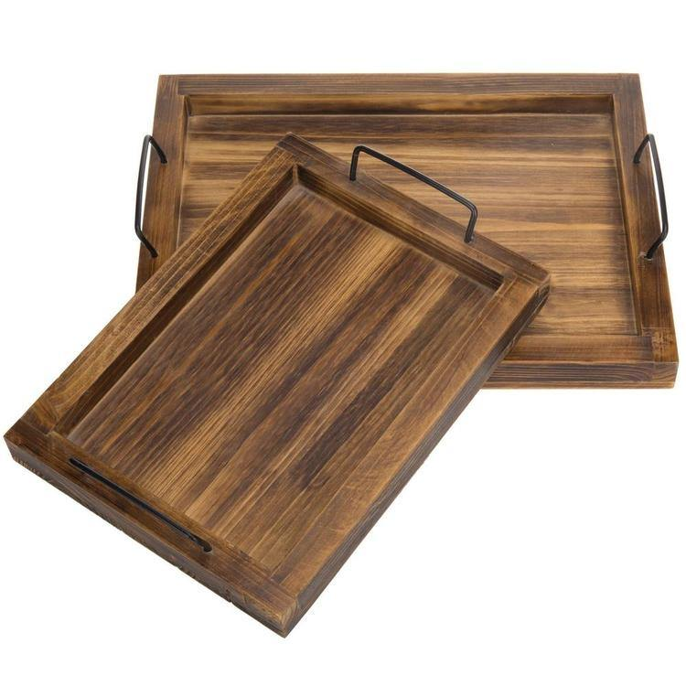Rustic Torched Wood Rectangular Nesting Serving Trays w/ Metal Handles, Set of 2 - MyGift Enterprise LLC