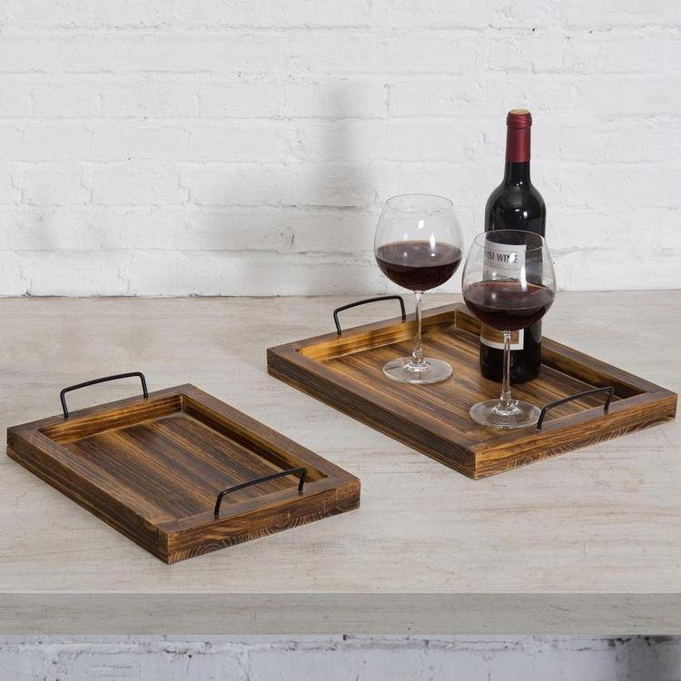 Rustic Torched Wood Serving Trays, Set of 2