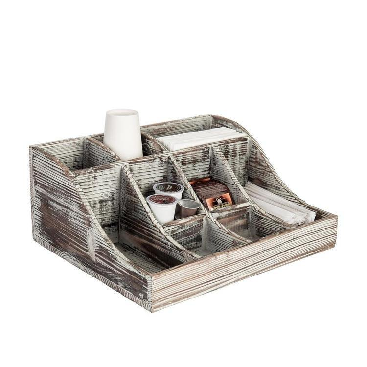 Rustic Torched Wood Tabletop Condiment Holder - MyGift