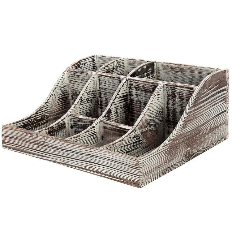 9-Compartment Rustic Torched Wood Tabletop Condiment Holder - MyGift Enterprise LLC
