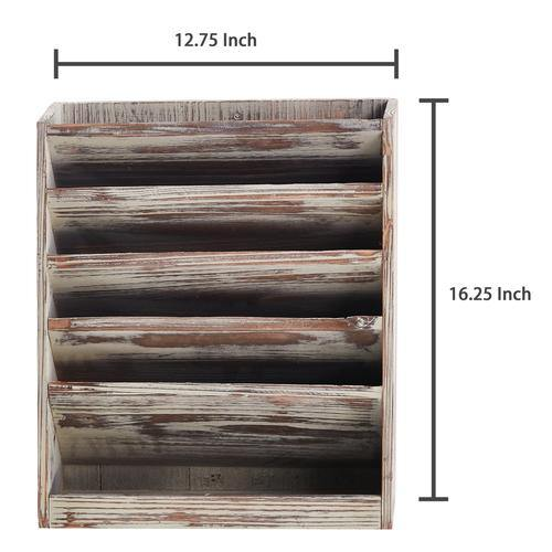 Rustic Torched Wood Wall Mounted Filing Organizer, Magazine Rack