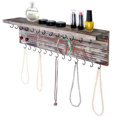 Rustic Torched Wood Wall Mounted Jewelry Rack w/Storage Shelf