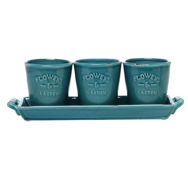 Rustic Turquoise Ceramic Succulent Planters & Handled Display Tray, Set of 3 - MyGift Enterprise LLC