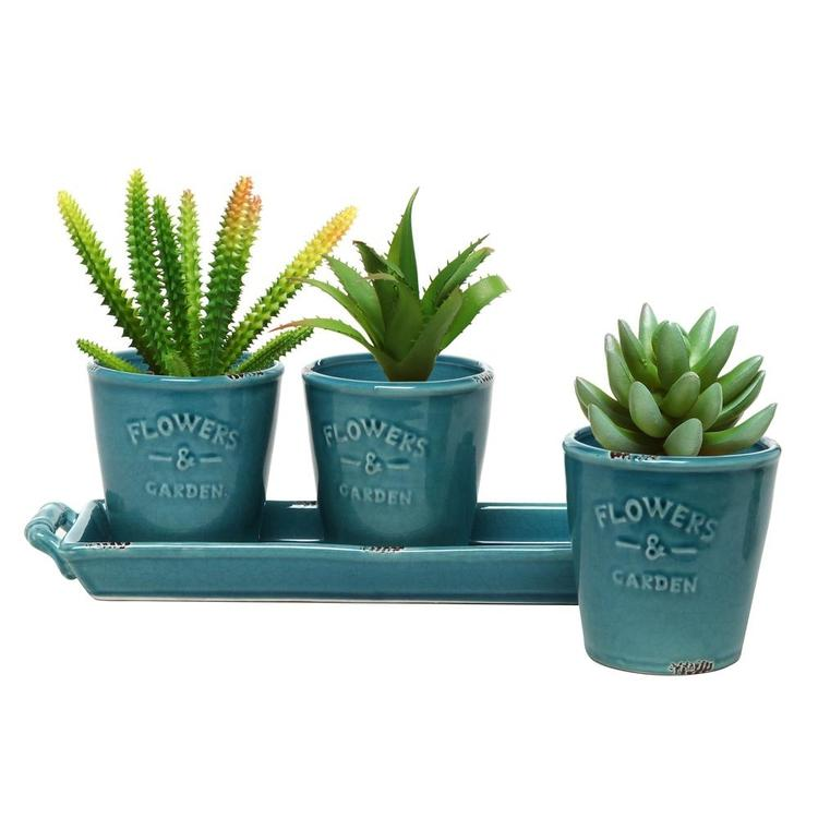 Rustic Turquoise Ceramic Succulent Planters & Handled Tray, Set of 3