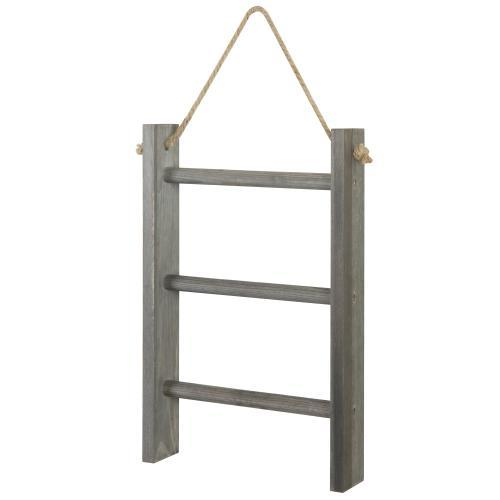 Rustic Wall-Hanging Towel Ladder, Gray