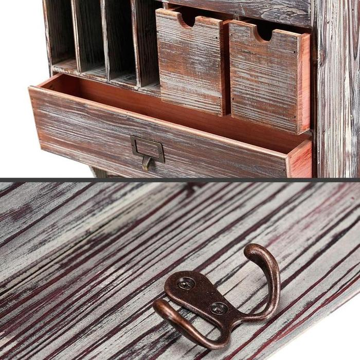 Rustic Wall Mounted Wood Coat Rack w/ Mail Slots & 3 Drawers - MyGift Enterprise LLC
