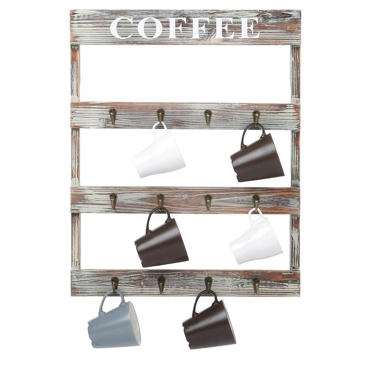 12-Hook Rustic Wall-Mounted Wood Coffee Mug Holder, Kitchen Storage Rack, Brown - MyGift Enterprise LLC