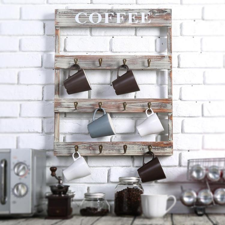 Rustic Wall-Mounted Wood Coffee Mug Holder