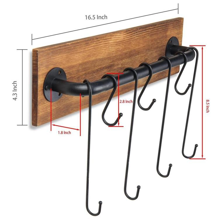 7-Hook Rustic Wood & Metal Wall-Mounted Cup Rack - MyGift Enterprise LLC