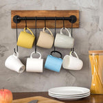 Rustic Wall Mounted Wood & Metal Wall Cup Rack