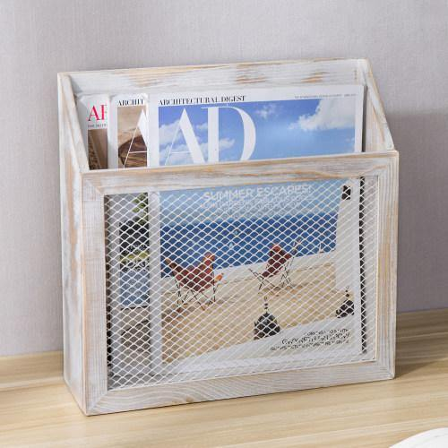 Rustic Whitewashed Wood & Chicken Wire Magazine Holder - MyGift
