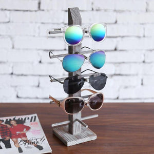 Rustic Torched Wood Tabletop Sunglass Display Stand