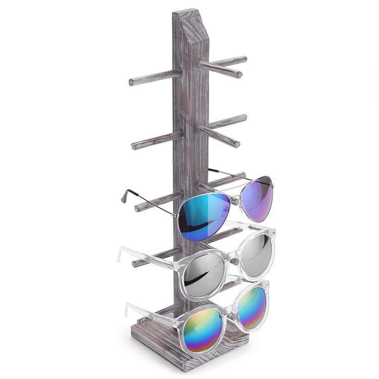 Rustic Whitewashed Barnwood 5-Pair Sunglasses Tabletop Display Stand - MyGift Enterprise LLC