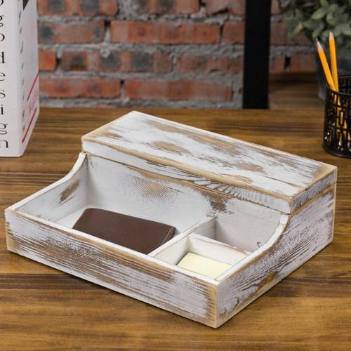 Rustic Whitewashed Wood Watch Valet Box - MyGift